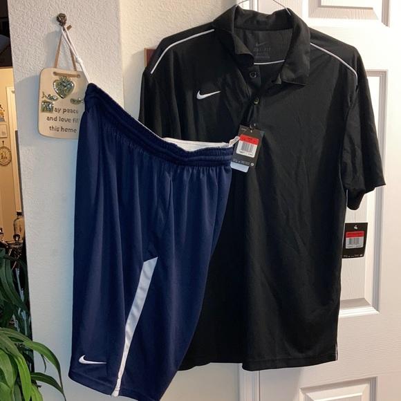 Nike polo and shorts combo black/wht/navy Men's LG